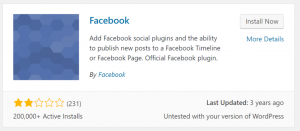 old and outdated facebook plugin