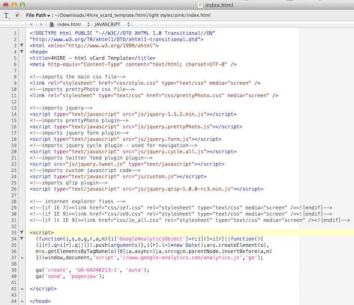 Google analytics in source code