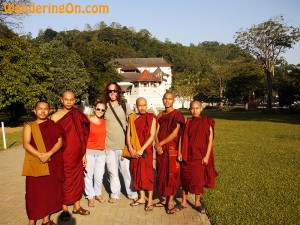 Brian and Noelle with Buddhist monks from Myanamar outside the Temple of the Tooth in Kandy, Sri Lanka