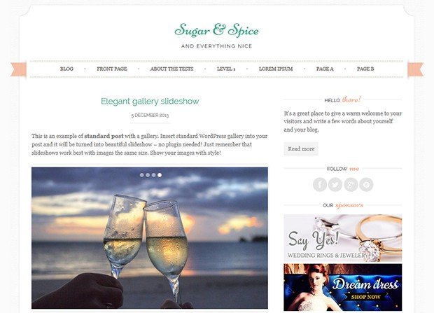 Sugar & Spice Theme Screenshot
