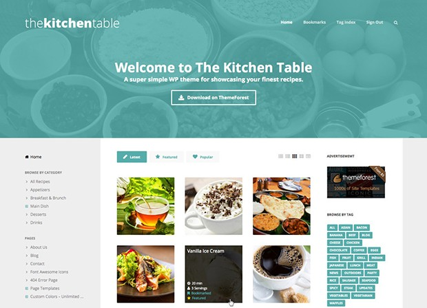 The Kitchen Table Theme Screenshot