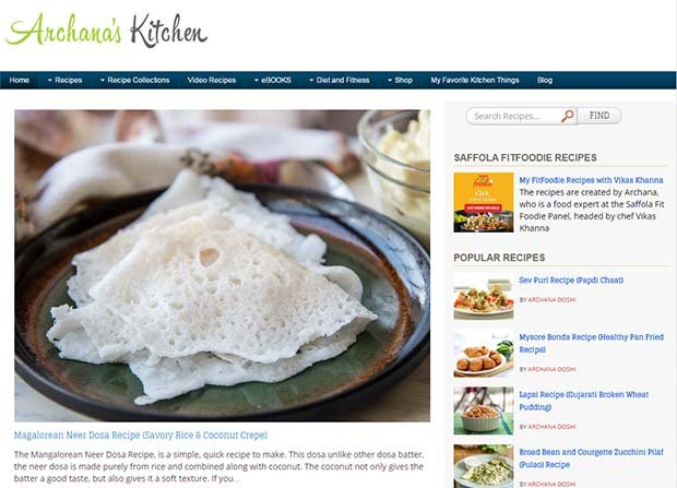 Archana's Kitchen Website Screenshot