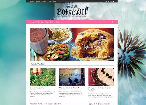 Beautifully Bohemian Website Screenshot