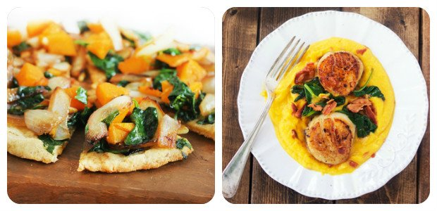 Butternut Squash Pizza and Creamy Butternut Squash Puree with Scallops and Bacon - Dish Picture