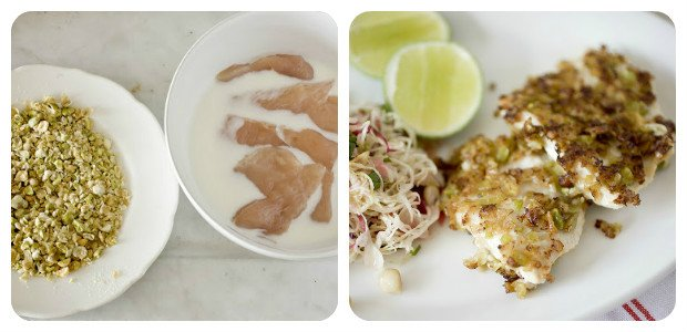 Chicken Crusted with Wasabi Peas and Slaw with Thai Peanut Dressing - Dish Picture