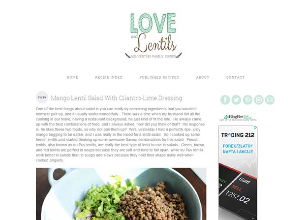 Love And Lentils - Website Screenshot