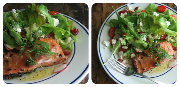Rhubarb & Chipotle Grilled Salmon With Just Picked Greens - Dish Picture