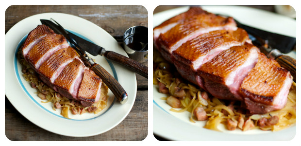 Roast Goose Breasts with Braised White Cabbage and Pancetta - Dish Picture