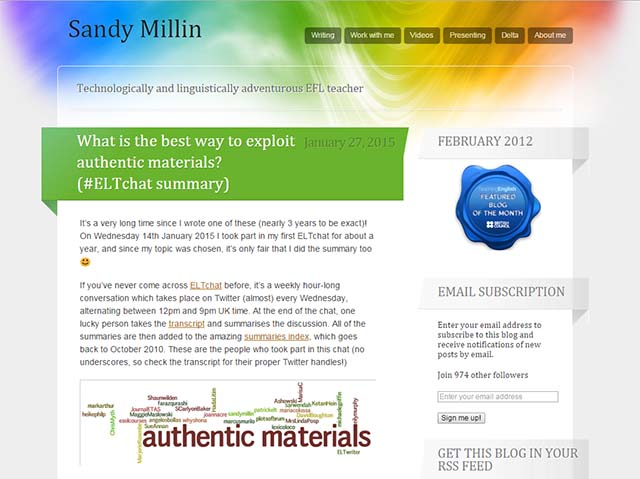 Sandy Millin - Website Screenshot