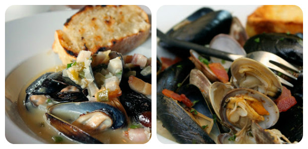Steamed Mussels and Clams with White Wine, Shallots, Tarragon and Bacon - Dish Picture