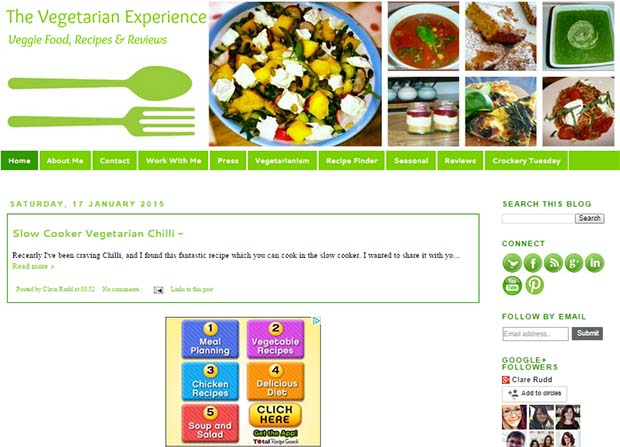 The Vegetarian Experience - Website Screenshot