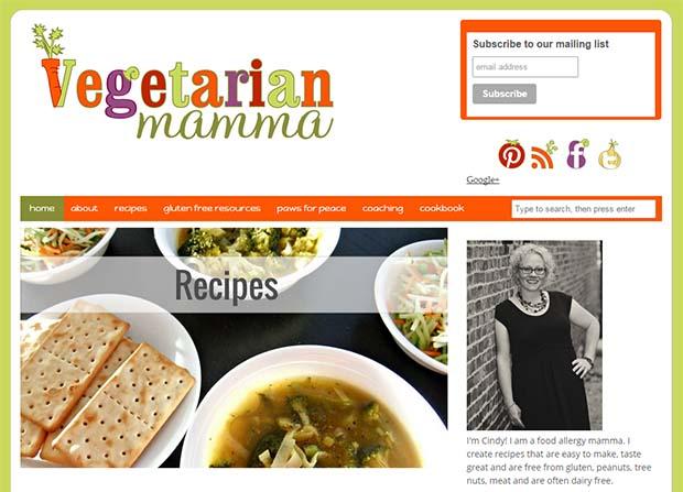 Vegetarian Mamma - Website Screenshot