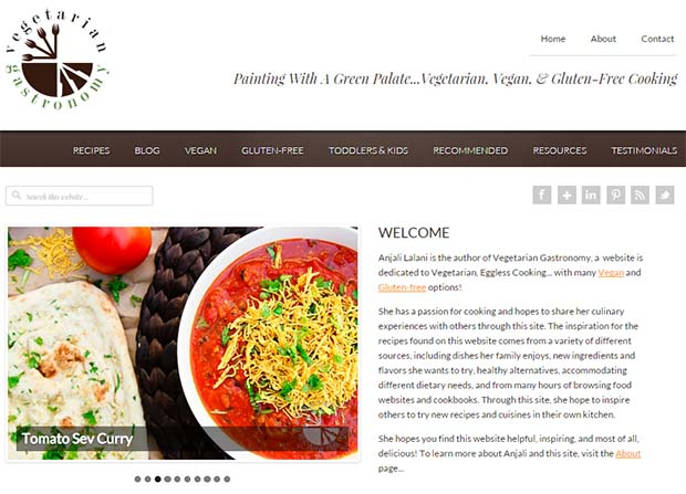 Vegeterian Gastronomy - Website Screenshot