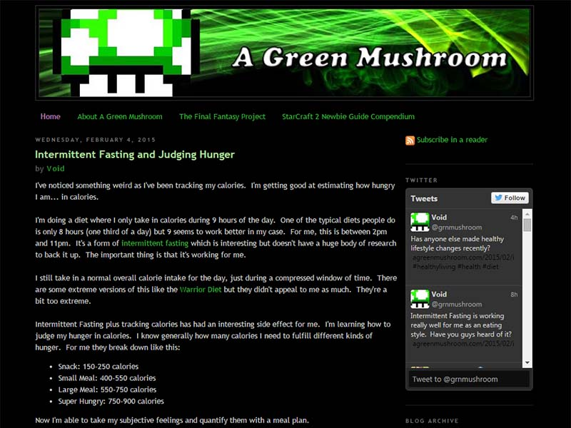 A Green Mushroom Website Screenshot