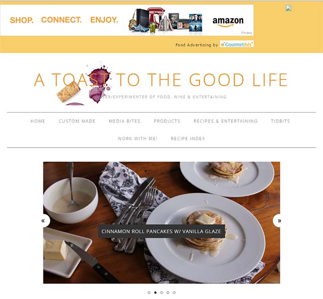 A Toast to the Good Life - Website Screenshot