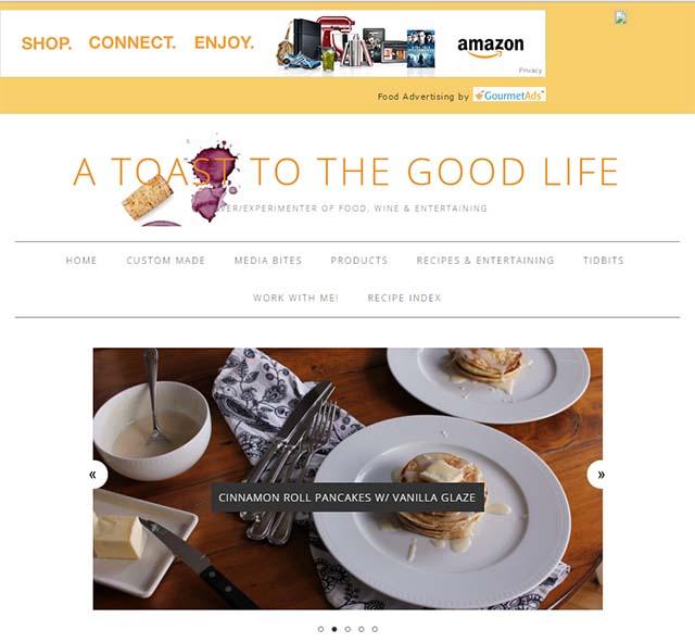 A Toast to the Good Life - Website Screenshot