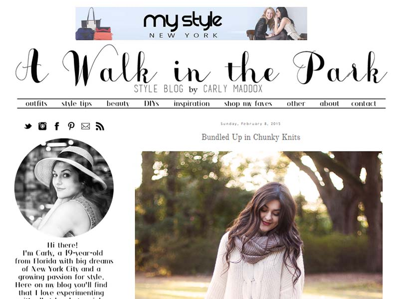 A Walk In The Park - Website Screenshot