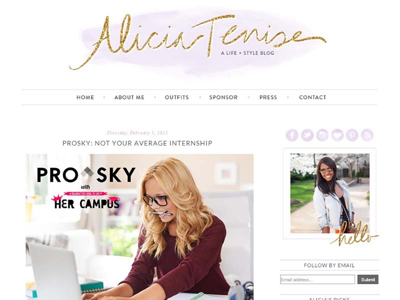 Alicia Tenise  - Website Screenshot