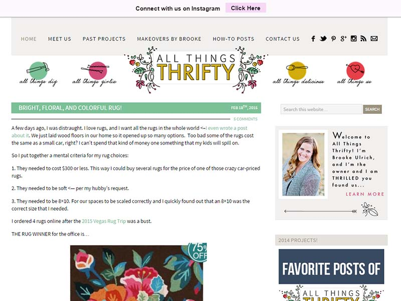 All Things Thrifty - Website Screenshot