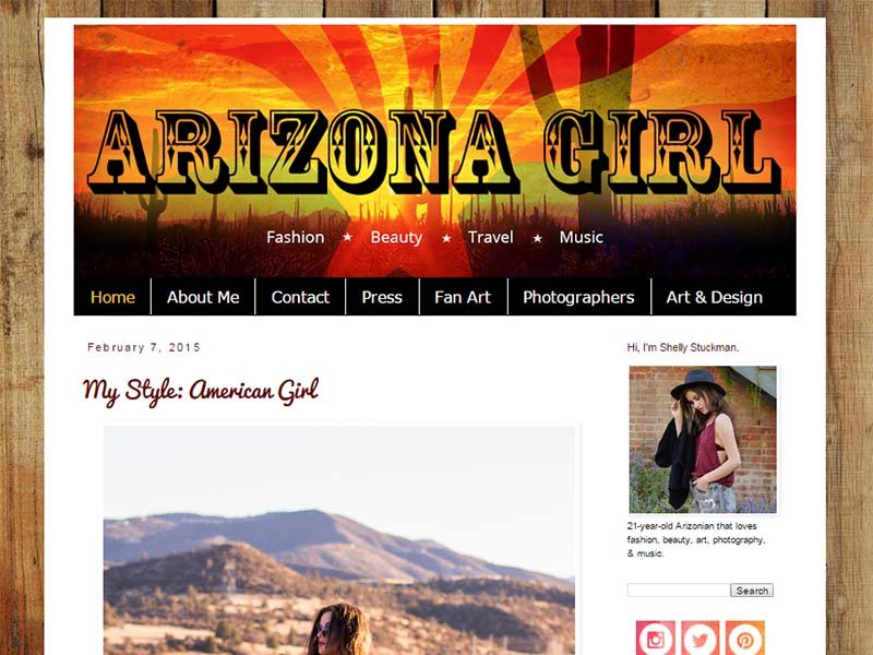 Arizona Girl - Website Screenshot