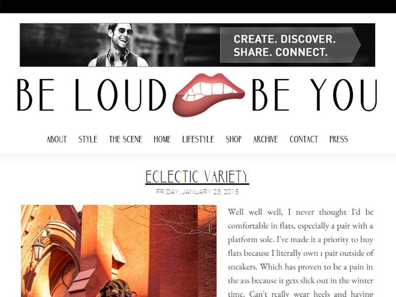 Be Loud Be You - Website Screenshot