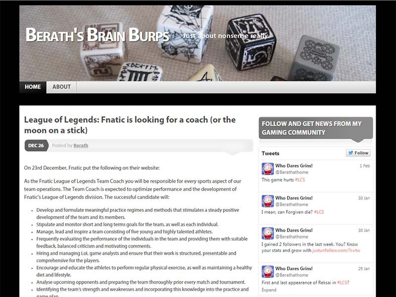Berath's Brain Burps Website Screenshot