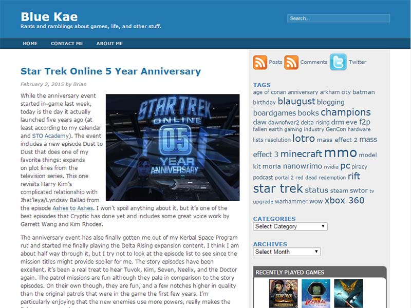 Blue Kae Website Screenshot