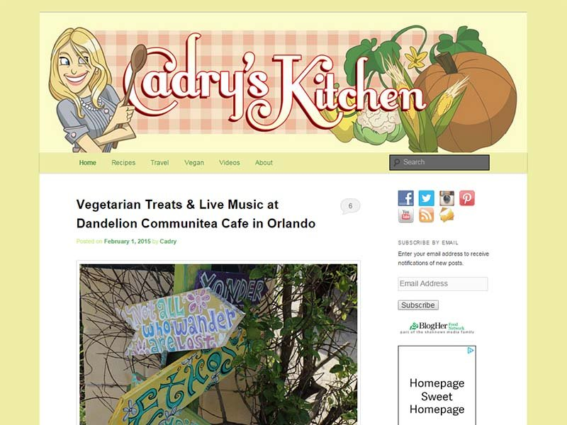 Cadry's Kitchen Website Screenshot