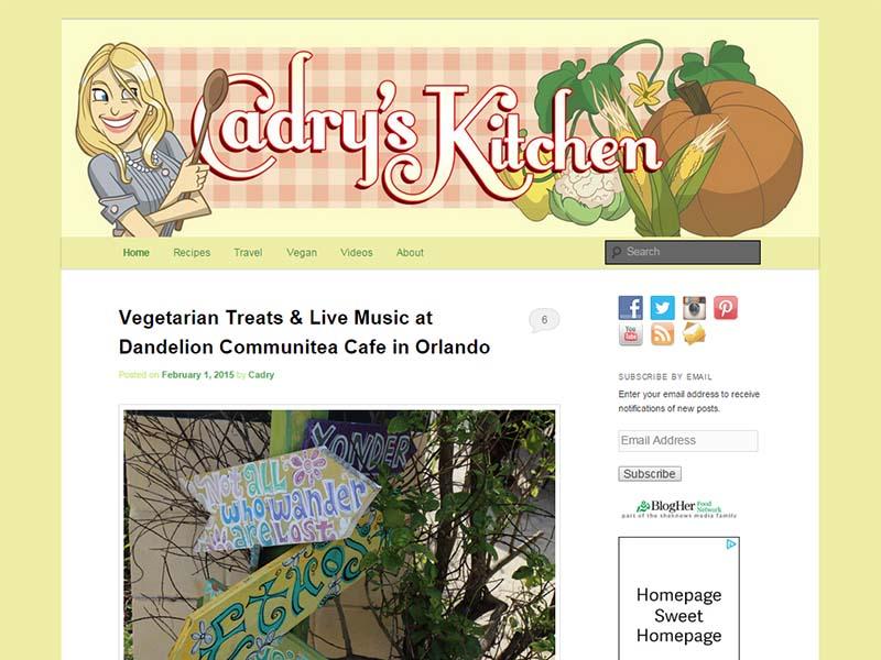 Cadry's Kitchen Website Screenshot