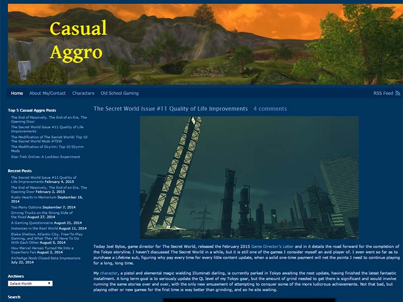 Casual Aggro Website Screenshot