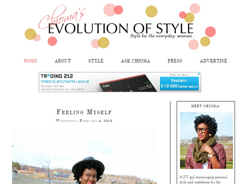 Chioma's Evolution of Style - Website Screenshot