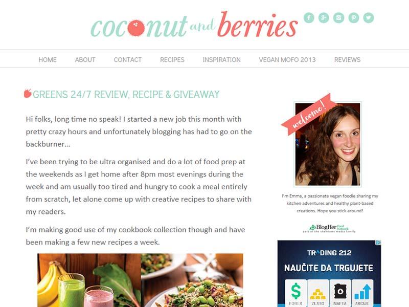 Coconut And Berries Website Screenshot