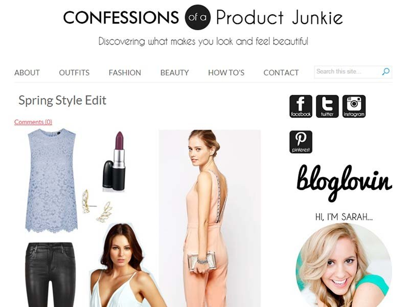 Confessions Of a Product Junkie - Website Screenshot