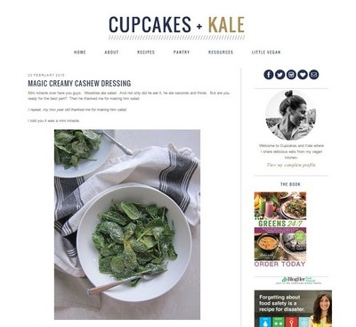 Cupcakes and Kale Website Screenshot
