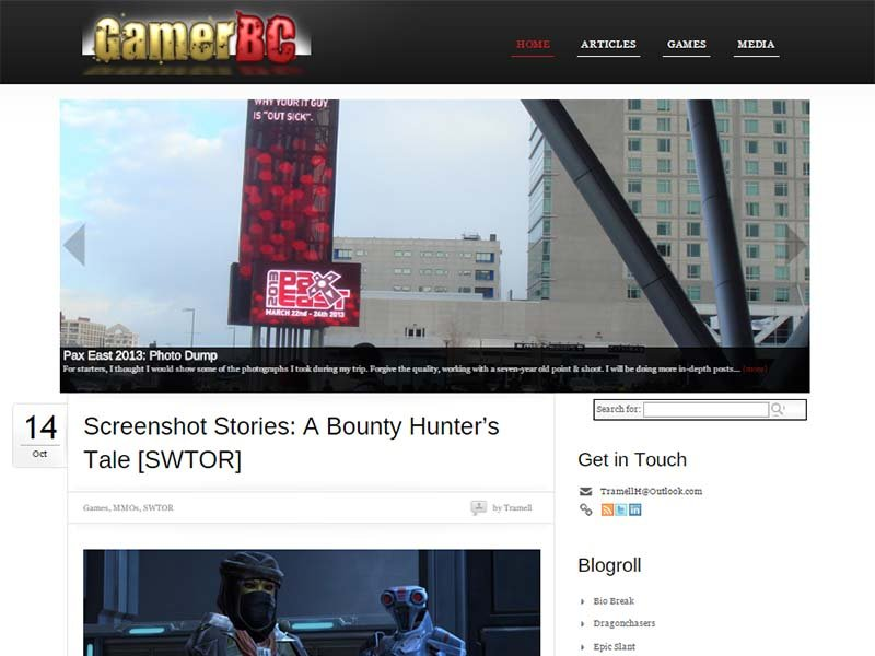 Gamer BC Website Screenshot
