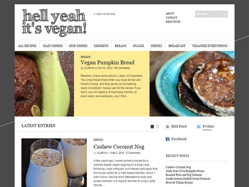 Hell Yeah It's Vegan Website Screenshot
