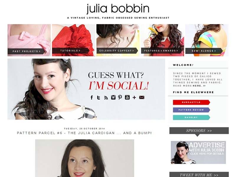 Julia Bobbin - Website Screenshot