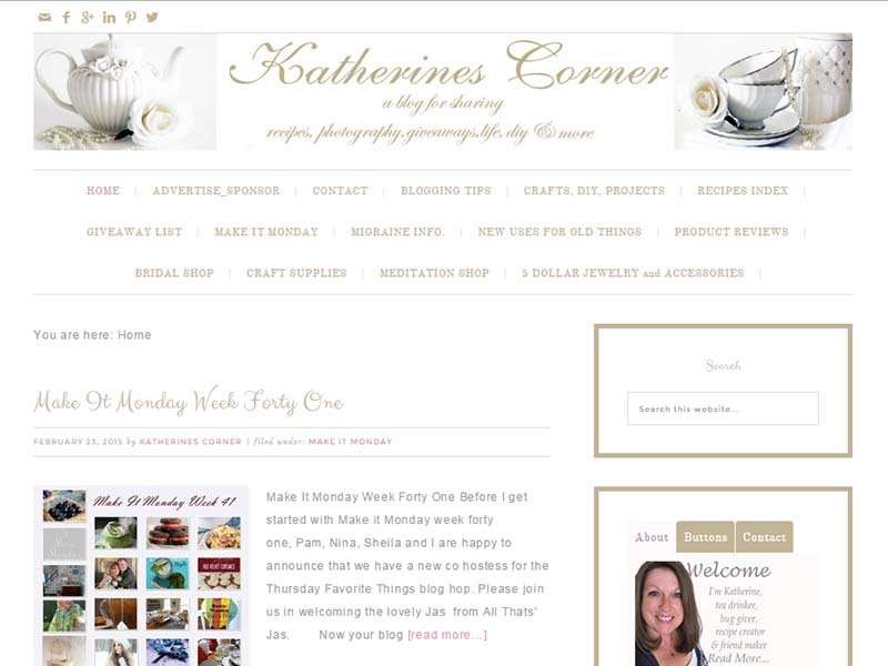 Katherines Corner - Website Screenshot