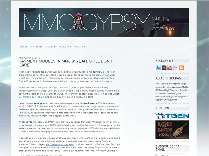 MMO Gypsy Website Screenshot