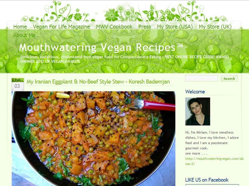 Mouthwatering Vegan Website Screenshot