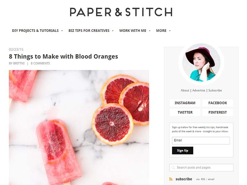 Paper and Stitch - Website Screenshot