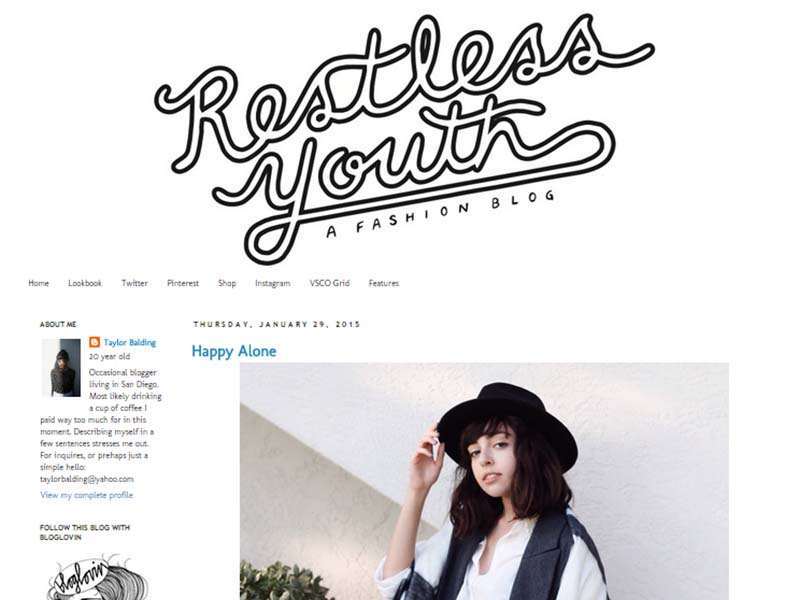 Restless Youth - Website Screenshot