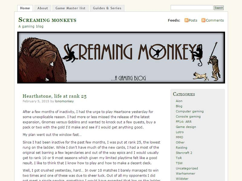 Screaming Monkeys Website Screenshot