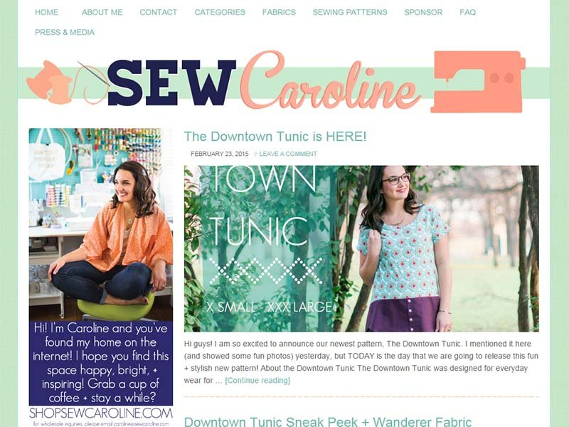 Sew Caroline - Website Screenshot