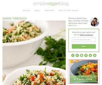 Simple Vegan Blog Website Screenshot