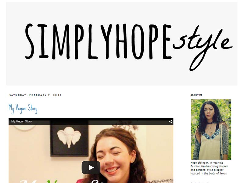 SimplyHopeStyle - Website Screenshot