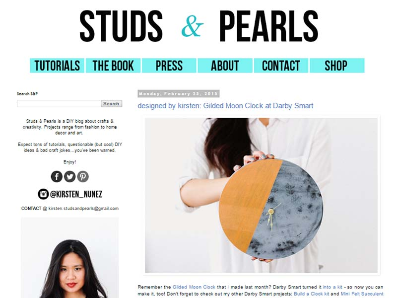 Studs and Pearls - Website Screenshot