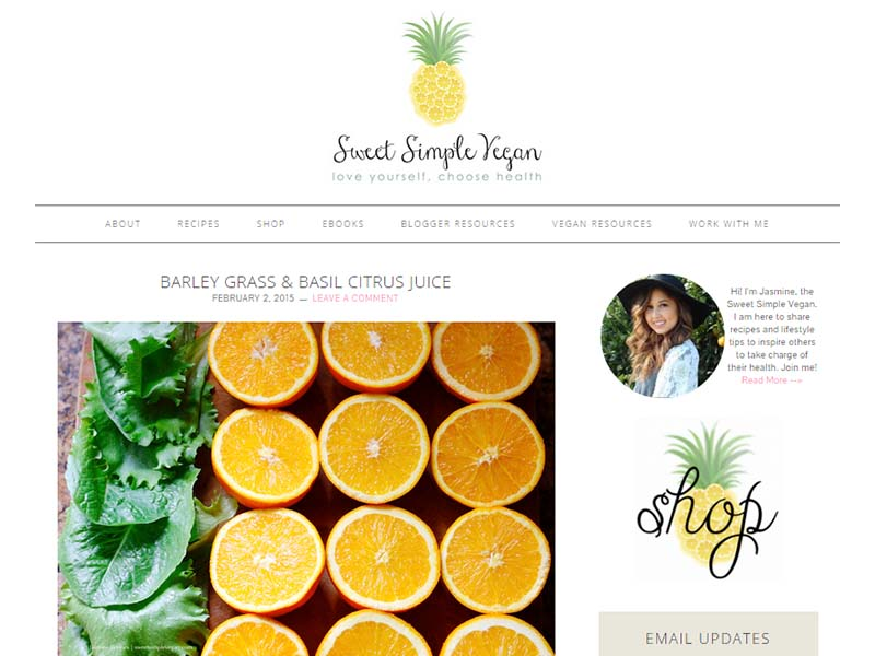 Sweet Simple Vegan Website Screenshot