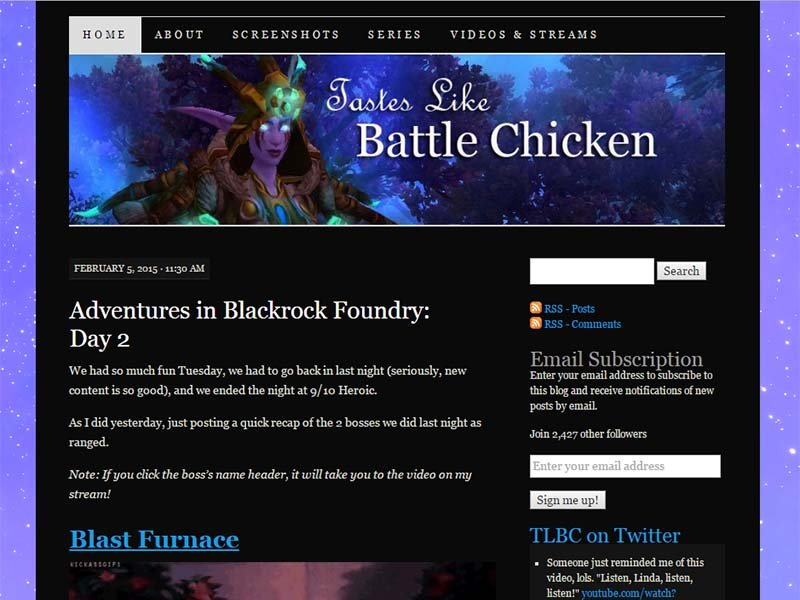 Tastes Like Battle Chicken Website Screenshot