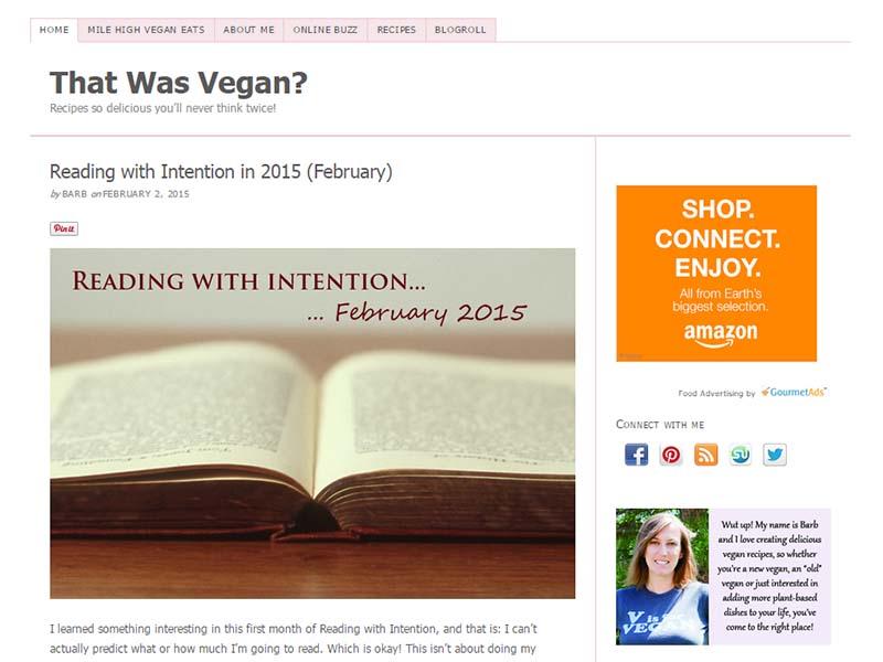 That Was Vegan Website Screenshot